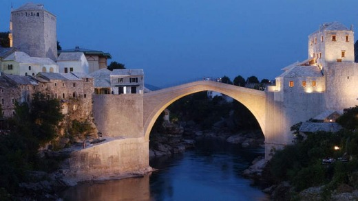 A view on the reconstructed Old Bridge in Mostar.