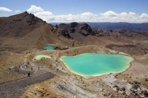 Emerald Lakes on the Tongariro Alpine Crossing, Tongariro National Park, North Island, New Zealand.