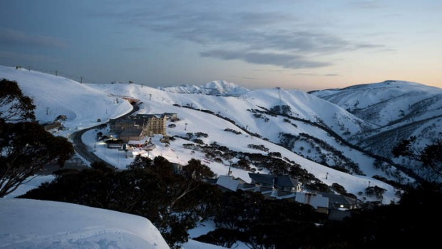 Big chill: Mount Hotham blanketed in fresh snow.