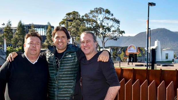 Top chefs Peter Gilmore, Ben Shewry and Neil Perry at MONA in Tasmania.