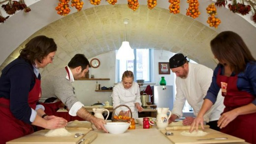 Making pasta in Gianna Greco's kitchen in a 17th-century monastery in Lecce.