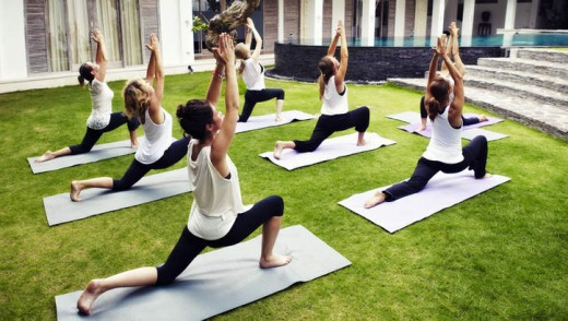 An outdoor yoga session.