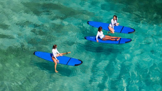 Taking a rest on paddleboards.