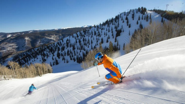 Ski-licious: skiing the wide groomed base at Aspen Snowmass Resort.