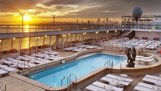 Watch the sunset on the Crystal Symphony pool deck.