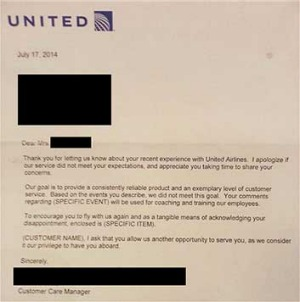 United Airlines may have accidentally posted this letter template to a passenger.