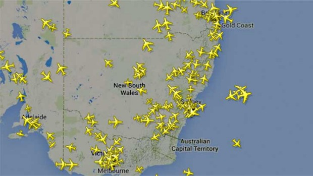 Planes flying over skies in southern Australia, taken from flightradar24.com.