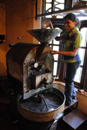 Hansa Coffee's ancient roasting machine.
