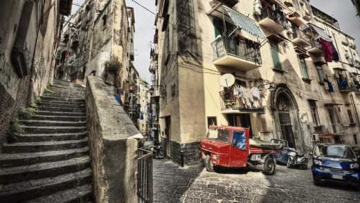The narrow, cobbled streets of Naples, Italy.