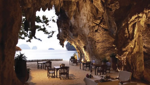 The Grotto dining area at Rayavadee, on the sand.