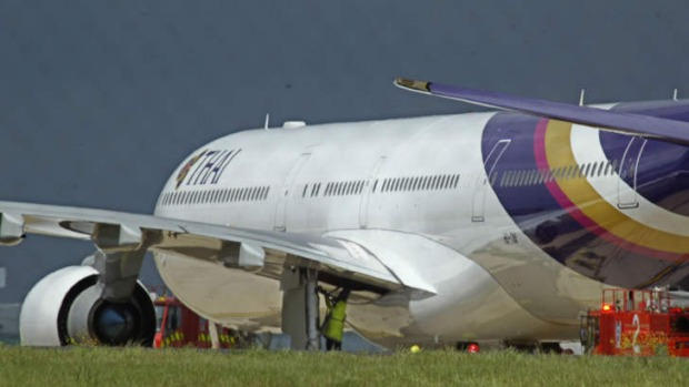 A Thai Airways Airbus A340 that landed heavily at Melbourne Airport in 2005.