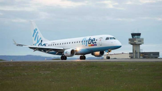 A Flybe plane takes off from Birmingham Airport.