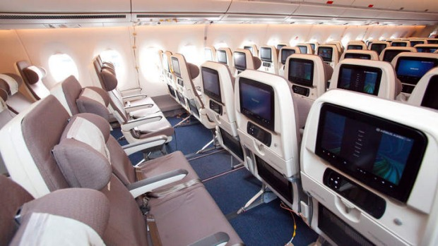 The economy class passenger seating of a Finnair Airbus A350 XWB.