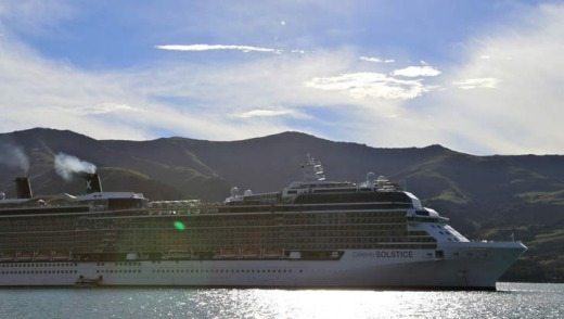 Celebrity Solstice at Akaroa in New Zealand's South Island.