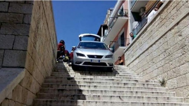 Satnav guides family's rental car to a staircase in Bari.