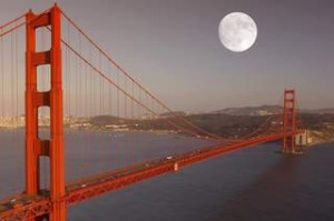 Full moon over Golden Gate Bridge, San Francisco, California, United States of America bridges nov 3- travel