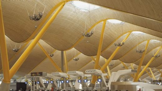 The undulating ceiling of Madrid's acclaimed Barajas airport.