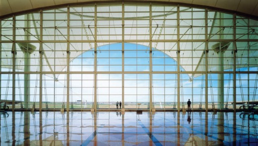 South curtain wall of Denver airport.