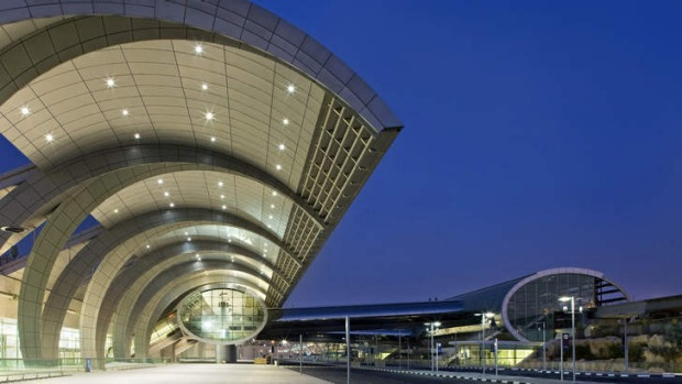 Exterior of departures area at Dubai airport's new Terminal 3.