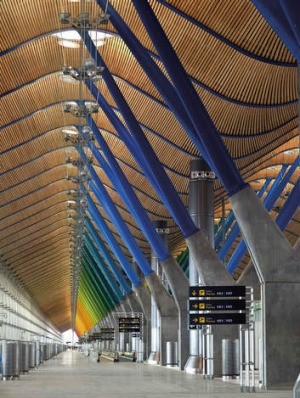Colour and light inside Madrid's Barajas airport.