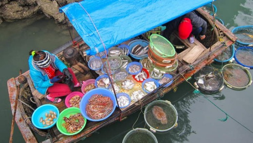 Halong Bay floating market.