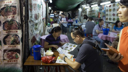 Traditional food: Sample noodle soup from one of Hong Kong's open-air street stalls.