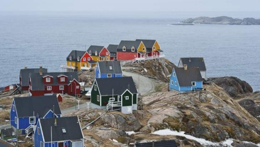 Colourful seaside timber houses in Sisimiut.