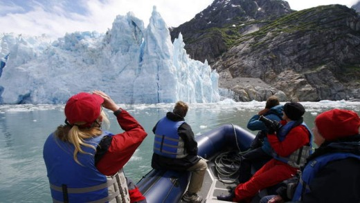 Spotting a glacier from the Maple Leaf zodiac.