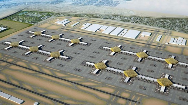 An artist's rendering shows the new designs of the Al-Maktoum International Airport in Dubai.