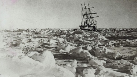 Shackleton's ship, the Endurance, trapped in the ice pack.