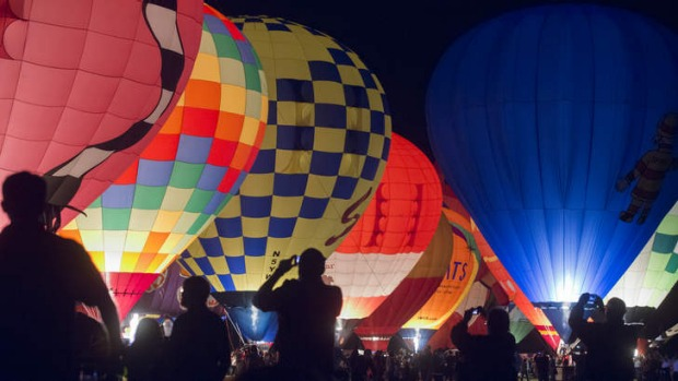 Awe and terror: A race is held the day after the Balloon Glow in St Louis.
