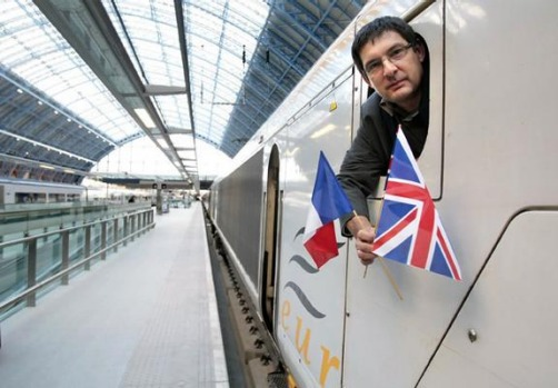 Eurostar train driver Marc Faureau arrives on the first train from Paris to the new Eurostar terminal at St Pancras.