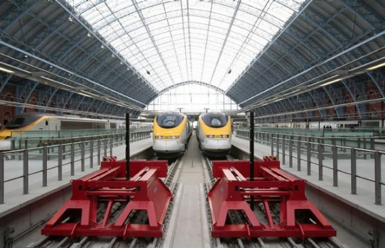 Eurostar trains at the new Eurostar terminal at St Pancras Station in London.