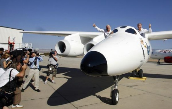 The twin fuselage aircraft WhiteKnightTwo will carry SpaceShipTwo to launch commercial passengers into space.