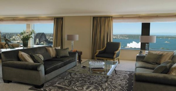 Royal suite, Shangri-La Hotel, Sydney. From its 34th-floor eyrie this 242-square-metre suite has uninterrupted views of ...