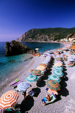 The secluded beach at Monterosso.