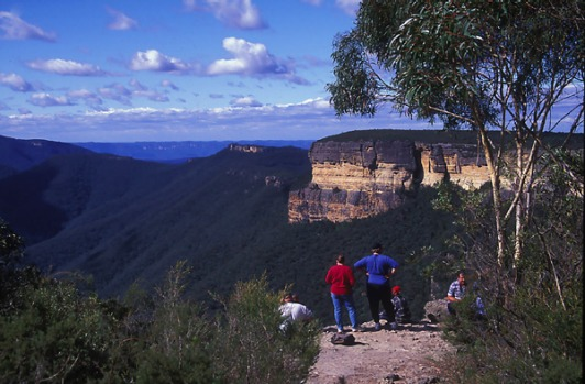 Blue Mountains, NSW - an area of the Great Dividing Range named after the blue haze that lingers over it peaks, formed ...