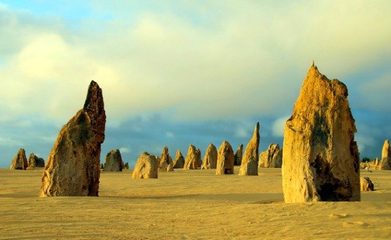 The Pinnacles, Western Australia - rock formations which lie in pristine sands within Nambung National Park and are ...