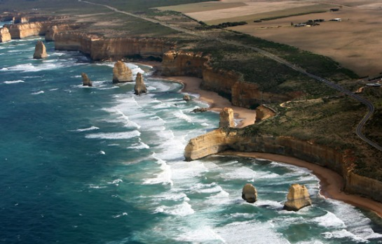 Twelve Apostles, Victoria - the eight remaining limestone rock formations are the remnants of the cliffs that once ...