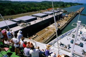 Incredible ... passengers watch as their ship passes through the gates of a lock.