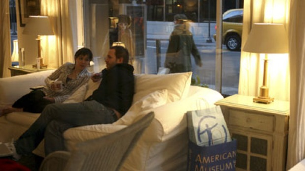 Duncan Malcolm and Katherine Lewis are receiving a free room Manhattan's Roger Smith Hotel, as long as passers-by can ...