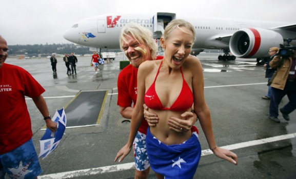 British billionaire and showman Richard Branson has declared war on Qantas and other rival airlines with the launch of ...