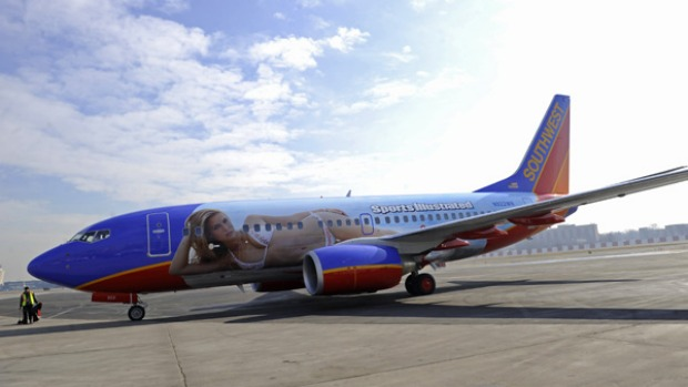 The plane will fly between New York and Las Vegas for a limited time, bearing the Sports Illustrated imagery on its fuselage.
