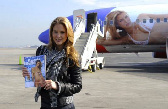 Israeli model Bar Refaeli at the unveiling of SI One, a Southwest Airlines Boeing 737-700 wrapped with her image at La ...