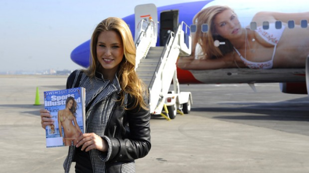 Israeli model Bar Refaeli at the unveiling of SI One, a Southwest Airlines Boeing 737-700 wrapped with her image at La Guardia aiport in New York.