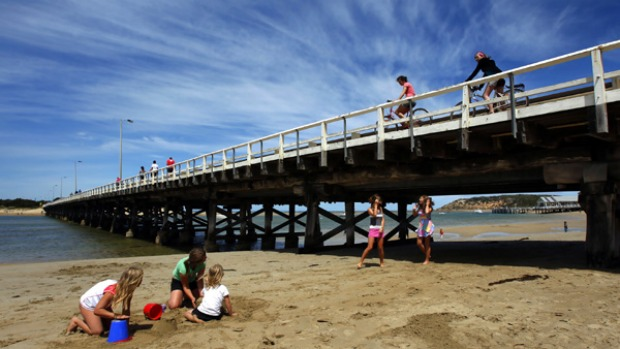 Water under the bridge ... the wooden bridge to Ocean Grove is a reminder of simpler days.