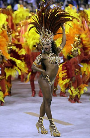 No stopping: a drum queen of the Beija-Flor samba school at last year's Carnival in Rio.