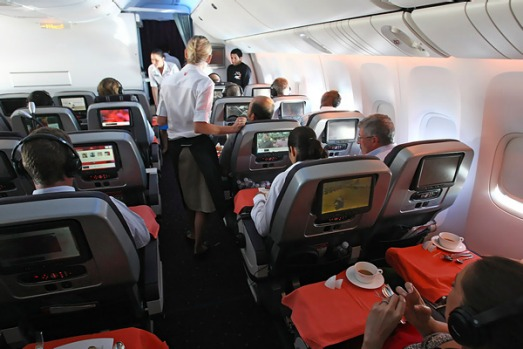 V Australia's 32 premium economy seats provide sufficient room for business travellers to operate a workstation.