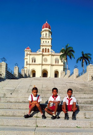Island home ... schoolchildren at the city's Basilica del Cobre.