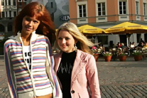 Posing for photos in Riga's Dome Square.